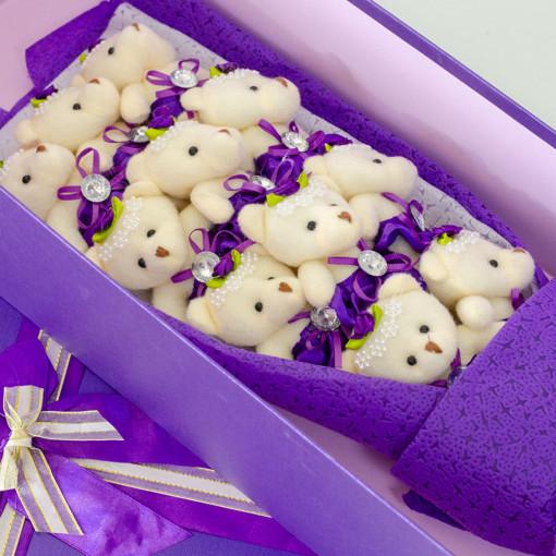 Teddy Bear Buket - Ljubičasti