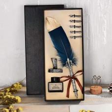 Deluxe Set za Pisanje - Plavo Zlatno Pero