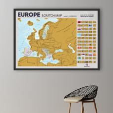 Uramljena Greb Mapa Evrope Na Engleskom