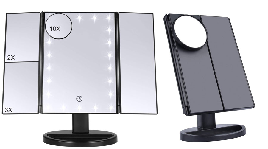 Plastično ogledalo za šminkanje sa uveličavajućim površinama