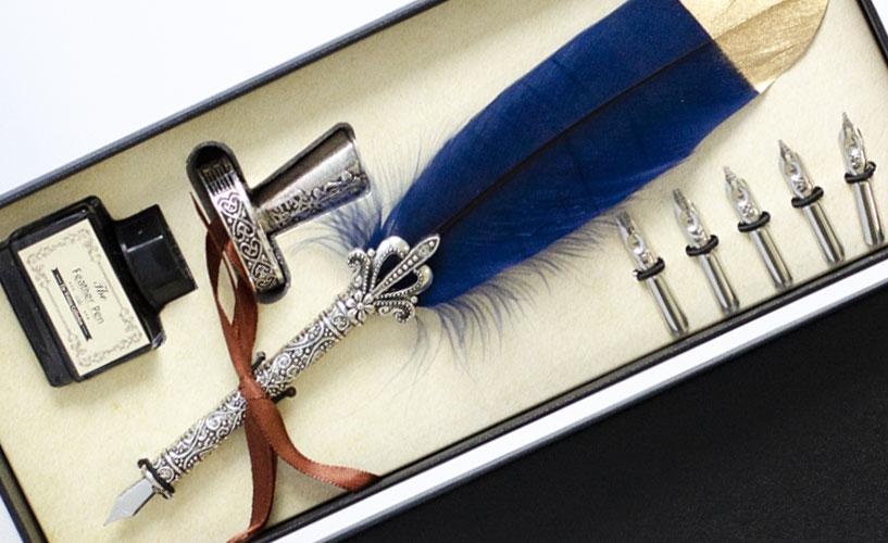Set za pisanje sa perom u plavoj boji